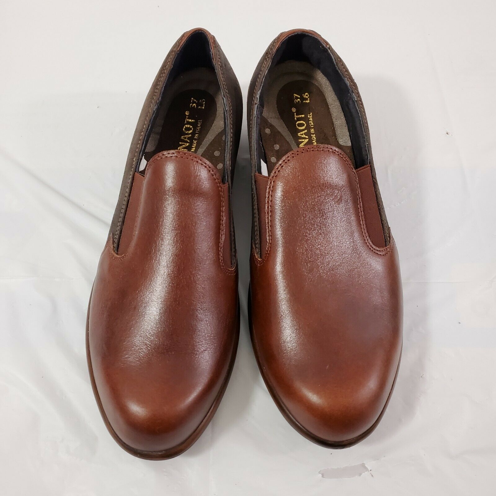 Naot Women's Leather Ostro Brown Two Tone Slip-On Loafters 37 US Size 6 -