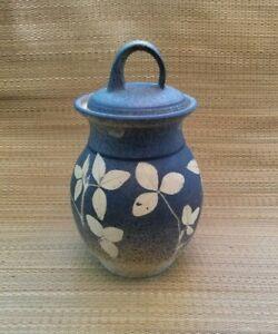 Vintage Studio Pottery Stoneware Leaf Branch Lidded Jar Canister Signed Artist