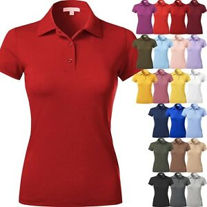WOMENS-POLO-Shirts-Premium-Soft-Short-Sleeve-Casual-Uniform-Extra-Slim-Fit-Tee