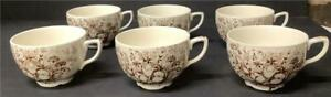 6 Antique Johnson Bros WINDSOR WARE COFFEE/TEA CUPS Dover Brown tulips
