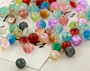 4//6//8//10mm Round Crystal Crack Glass Loose Spacer Beads Charm DIY Jewelry#Q