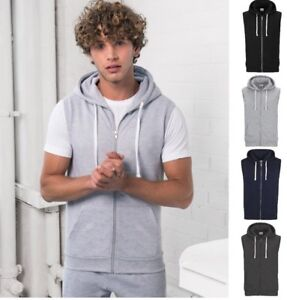 AWDis-Men-039-s-SLEEVELESS-ZOODIE-Full-Zip-Soft-Feel-Gilet-Hoodie-in-Colour-Choices