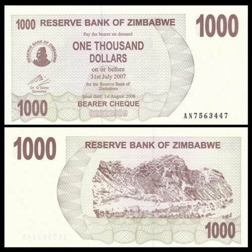 UNC P-44 Lot 5 PCS 2006//2007 Zimbabwe 1000 Dollars
