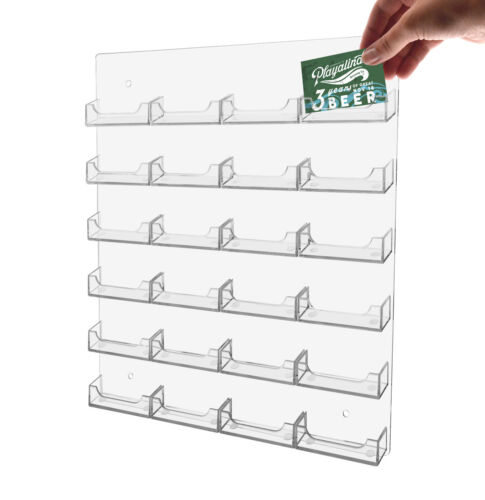 Brand New clear acrylic wall mount business card display with 24 pockets