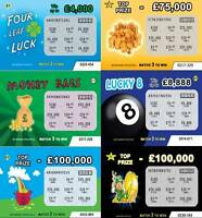 100 Joke Prank Lottery scratch cards FAKE (6 designs) Great for xmas/birthdays!