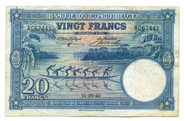 Belgian Congo Banque du Congo Belge 20 Francs 1940 F/VF P-15 RARE Elephant Head
