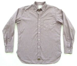 BILLY-REID-Mens-Slim-Cut-Button-Down-Shirt-sz-L-Check-Plaid-Made-in-Italy-EUC