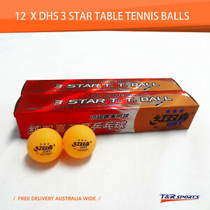 12x-DHS-3-Star-40mm-Table-Tennis-Ping-Pong-Competition-Balls-Orange-Local-Stock