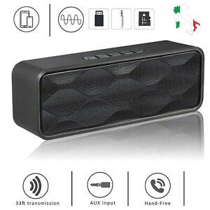 Altoparlante Wireless Bluetooth 4.2 Cassa Speaker Portatile FM Radio Slot TF USB