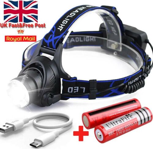 Tactical 60000LM T6 LED Headlamp Headlight Head Torch 18650 Battery Charger uk