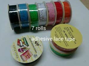 7 rolls DIY Adhesive craft scrapbooking Lace Tape decorating 1m/roll 15mm wide
