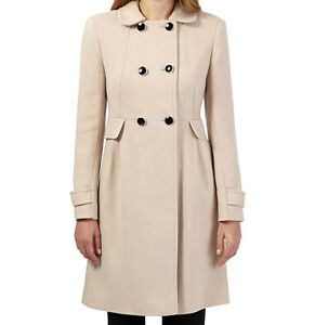 Womens Ladies New Smart Beige Double Breasted Button Collared Jacket/Coat UK8-20