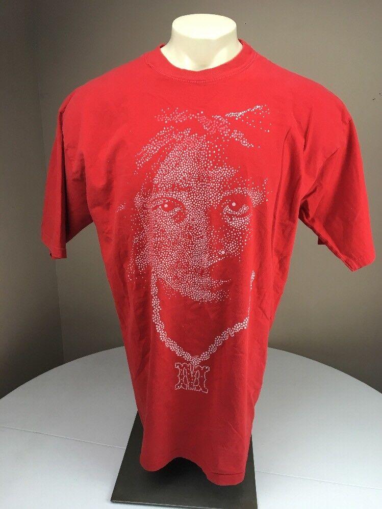 Vintage 90s MAKAVELI Tupac Dot Art Portrait Hip Hop/Rapper T-shirt ROT 2XL