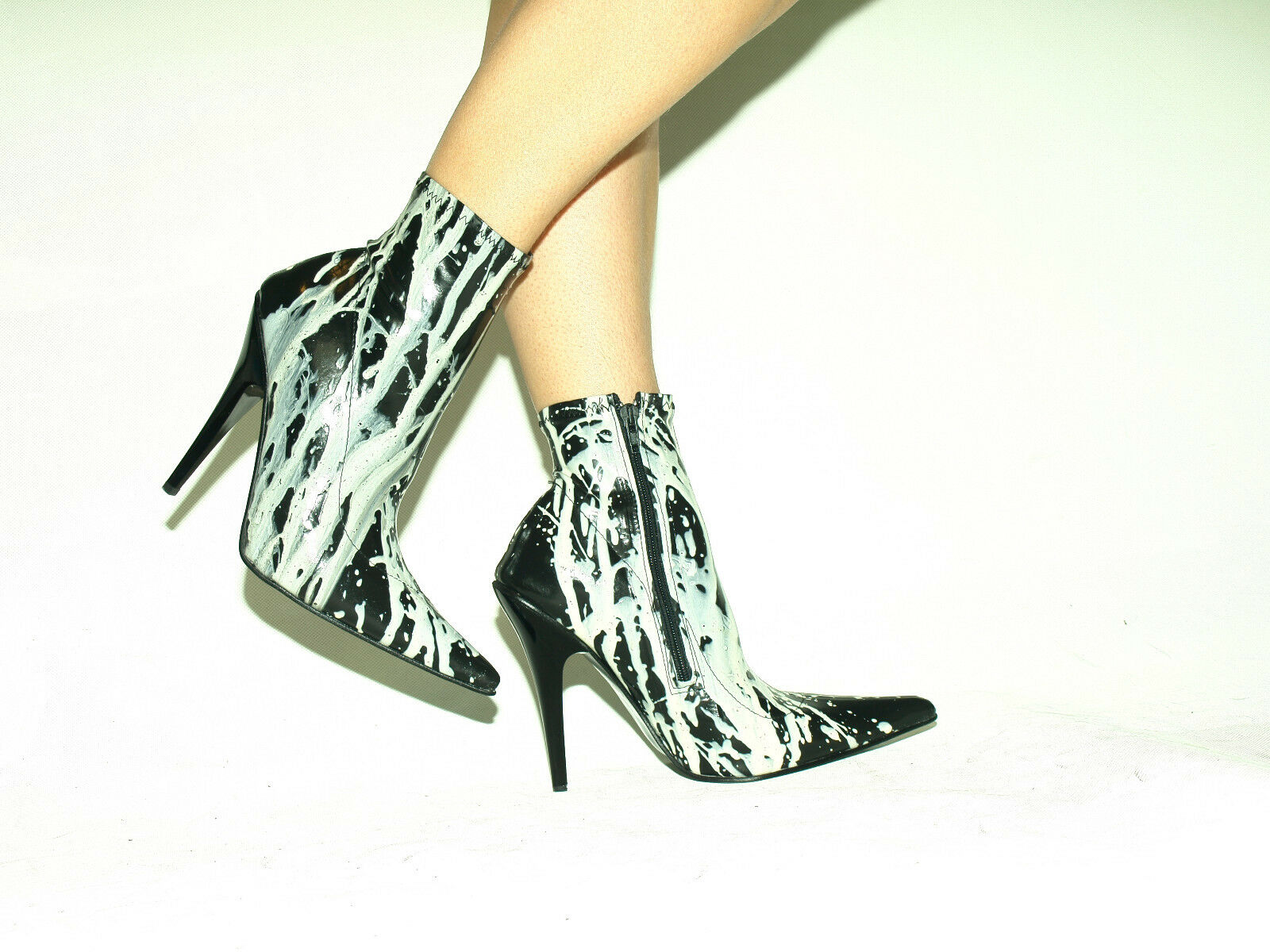 BLACK-WHITE 100% LATEX RUBBER HIGHS BOOTS  SIZE 5-16 HEELS-5,5 -13cm- POLAND