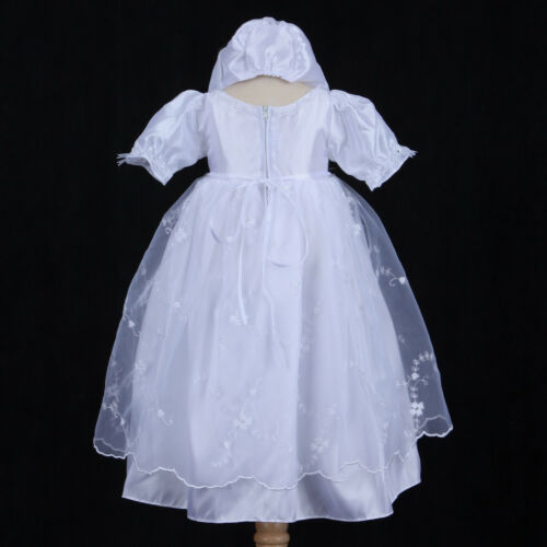 White Infant Baby Girl Baptism Christening Gown Dress Bonnet 6M 12M 18M 24M