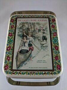 VTG TIN Ladies Home Journal Advertising August 1912 Sewing Tin With Handle