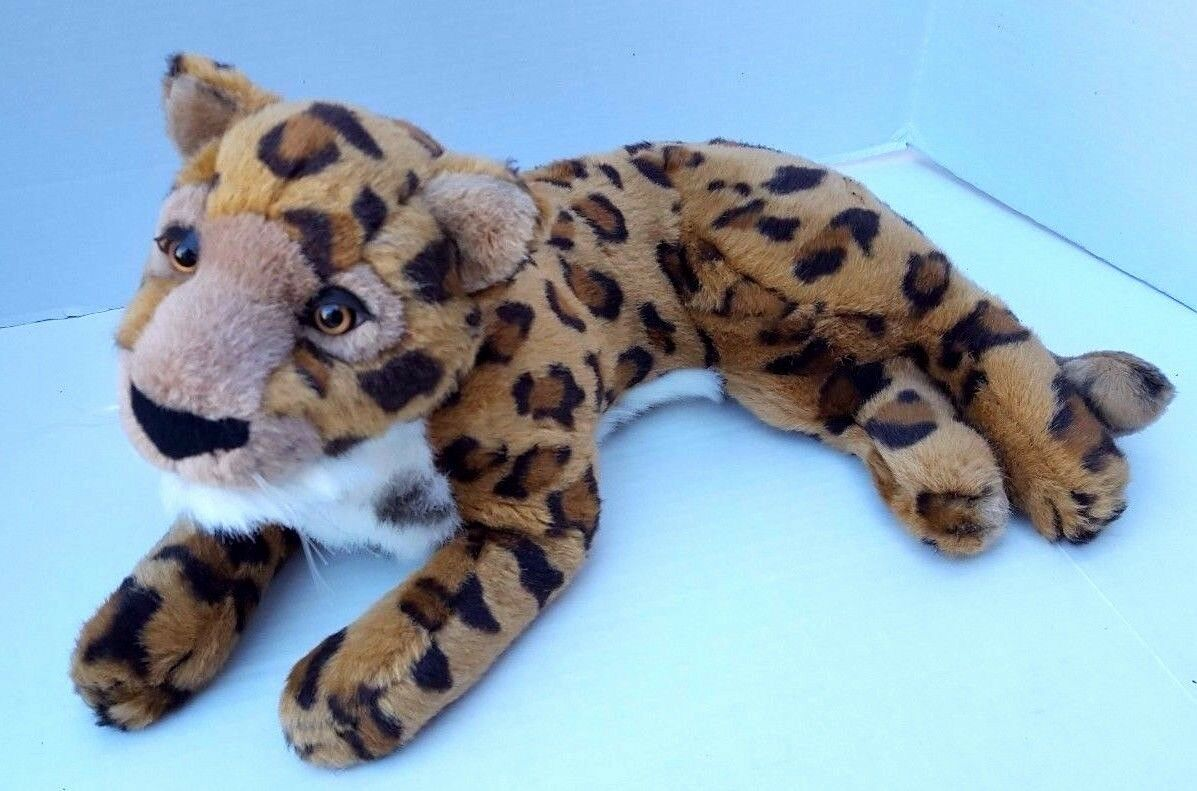 Leopard Plush FAO Schwartz Soft Cuddle Beautiful Long WITH Honey Eyes Real Like