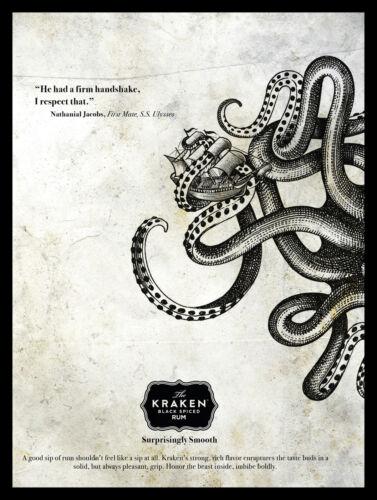 Metal Vintage SHABBY-CHIC Tin Kraken noir épicé Rhum plaque//Aimant de réfrigérateur