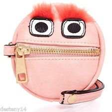 LuLu Furry Monster Orange Eyebrows Wristlet Coin Purse NWT