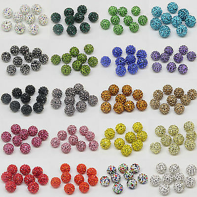 10-50x Czech Crystal Rhinestones Pave Clay Round Disco Ball Spacer Bead 10mm DIY