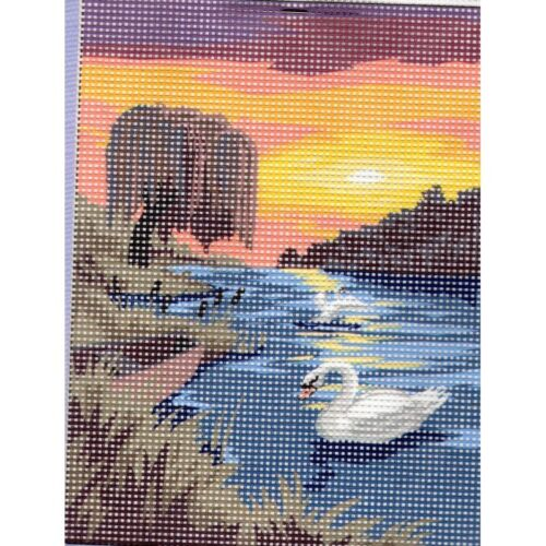 Kit Canevas Les Cygnes au Soleil Couchant 15 x 20 cm REF bl0500//043