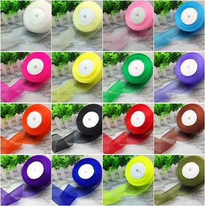 NEW-DIY-10-20-25-38-50mm-Solid-Color-Spool-Satin-Edge-Sheer-Organza-Ribbon-Craft