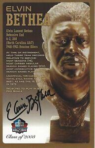 Elvin Bethea Houston Oilers Football Hall Of Fame Autographed Bust Card