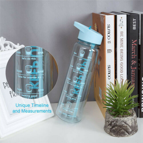 Motivational Water Bottle with Straw Plastic BPA Free Leakproof Sports Mugs