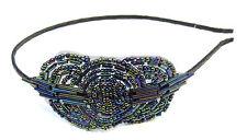 Black Purple Blue Flapper Headband 1920s Vintage Great Gatsby Headpiece 1930 V20