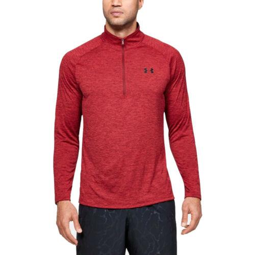 Under Armour Herren Tech 2.0 Zip Langarm Top Fitness Sportshirt Poloshirt Rot