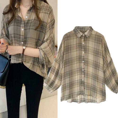 Women Plaid Shirts Batwing Sleeve Chiffon Blouses Top Plus Size Tartan Blusas SL