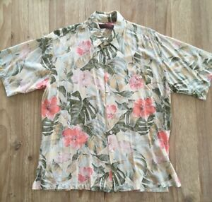 Tori-Richard-Herren-L-Hawaii-Shirt-Kurzarm-Viskose-beige-hellbraun-Blumen-Rayon