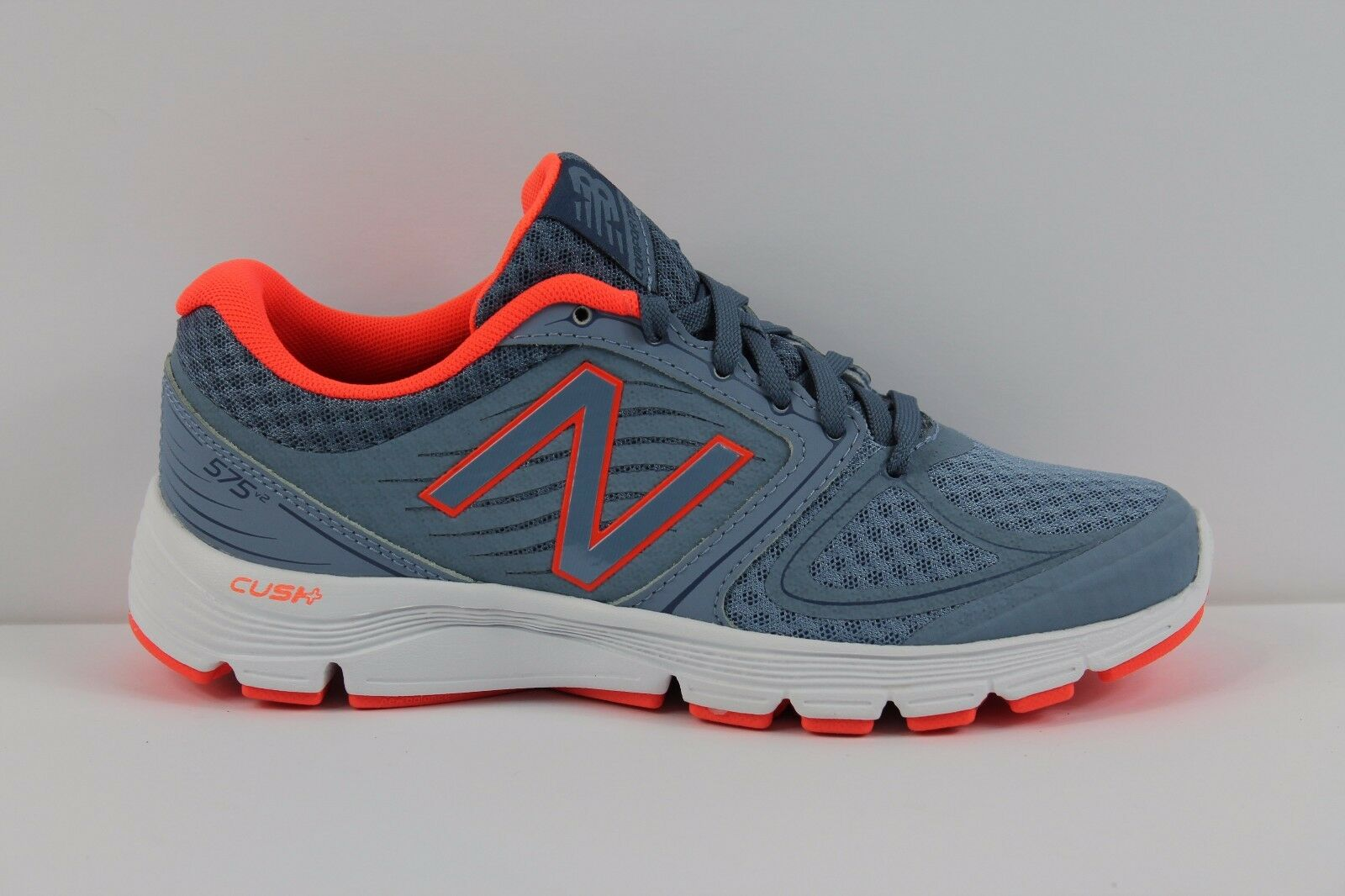 Womens New Balance W575LI2 Neutral Cushion Running Shoes Grey Coral Orange White