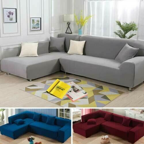 2 3 Seater L Shape Stretch 2pcs Elastic Sofa Cover Sectional Corner