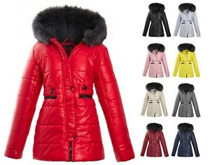 WOMENS-LADIES-QUILTED-WINTER-COAT-PUFFER-FUR-COLLAR-HOODED-JACKET-PARKA-SIZE-NEW