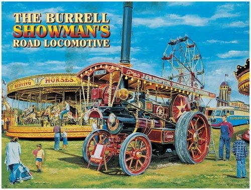 The Burrell Showman/'s Steam Traction Engine Fairground Medium Metal Tin Sign