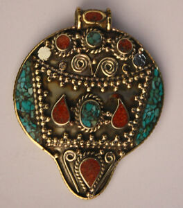 Asian-Jewelry-Ethnic-Handmade-Sterling-Silver-Pendant-Turquoise-Tribal-PA5