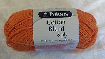 Patons Cotton Blend 8 Ply #7 Orange Cotton / Acrylic 50g