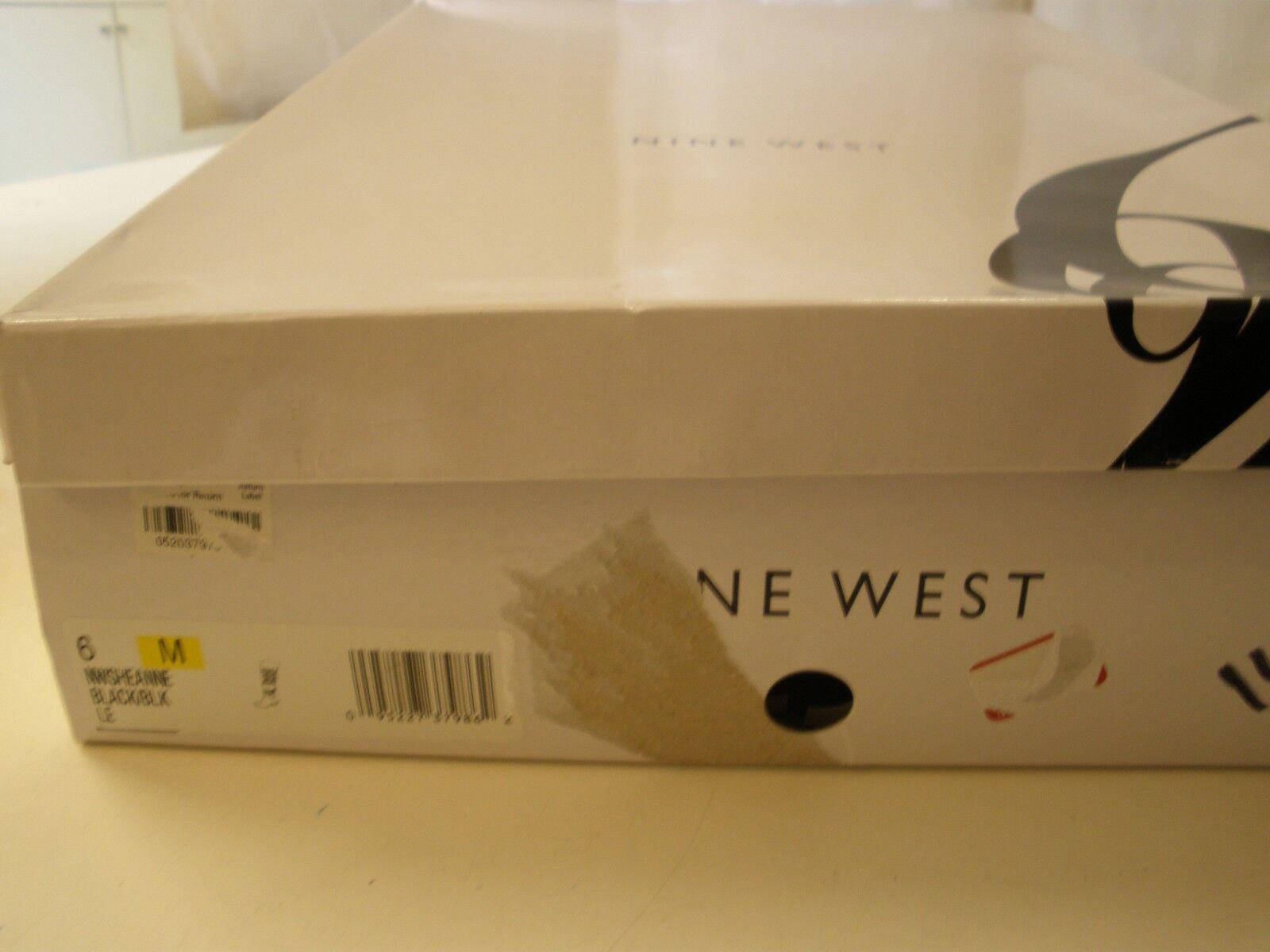 Nine West sheanne Cuir Noir Textile Genou Genou Genou Bottes 6 M Talon Bas Argent Rivets 818551