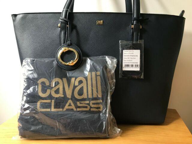 buy popular e4d21 35a54 Roberto Cavalli Class Doris CPS 005 Tote Bag Shopping Handbag, Navy Blue -  New