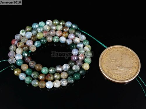 Natural Indian Agate Gemstone Faceted Round Beads 15/'/' 2mm 4mm 6mm 8mm 10mm 12mm