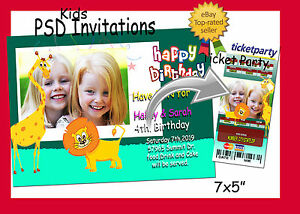 Image Is Loading Photoshop Templates PSD For Birthday Invitations Amp Ticket