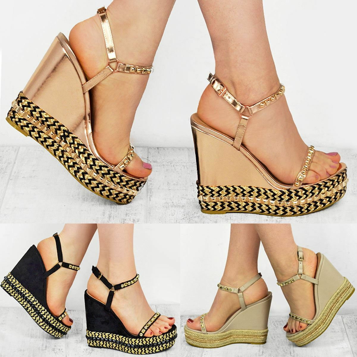 Ladies Womens Wedge Espadrilles Studded SandalS Strappy Party Platform Shoe Size
