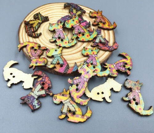 100pcs Spotted dog Wooden Buttons Fit Sewing Scrapbooking Decoration Crafts 28mm