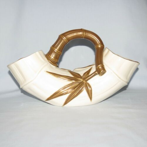 Royal Worcester Bamboo Double Ended Trough Vase With Handle C1887