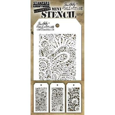 SET #47 Mix Media//Craft Stampers Anonymous Tim Holtz MINI LAYERING STENCIL