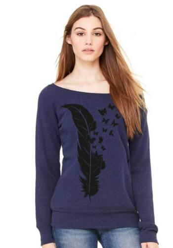 Sweatshirt Pullover Feder mit Schmetterlingen Butterfly weich kuschelig Pulli