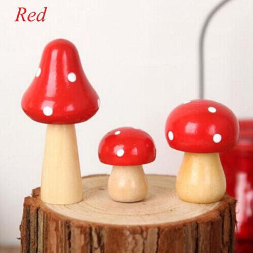 Miniature Fairy Toadstool Mushroom Home House Decor Ornaments Wood Crafts SK