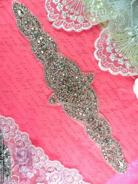"""XR246 Crystal Rhinestone Applique Bridal Sash Motif Silver Beaded & Glass 10"""""""