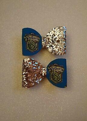 * Una * Harry Potter Hogwarts Casa Argento Glitter Per Capelli Con Fiocco-serpeverde- Modelli Alla Moda